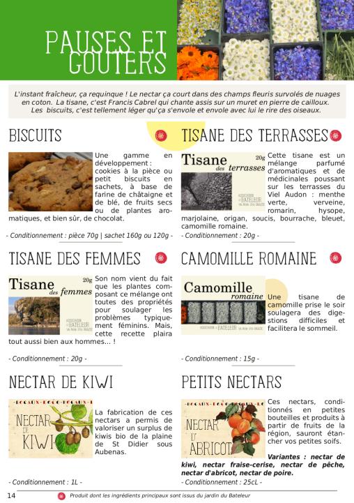 Catalogue du Bateleur - Page de présentation de produits