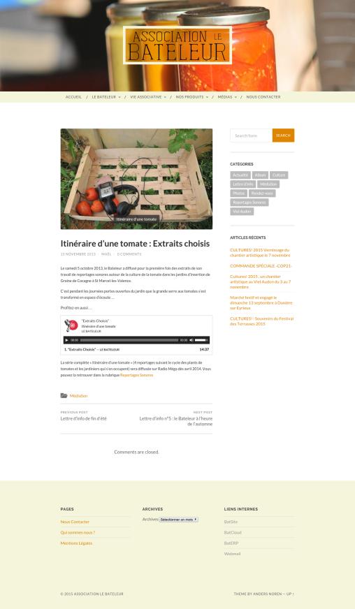 Site internet du Bateleur - Page médiason