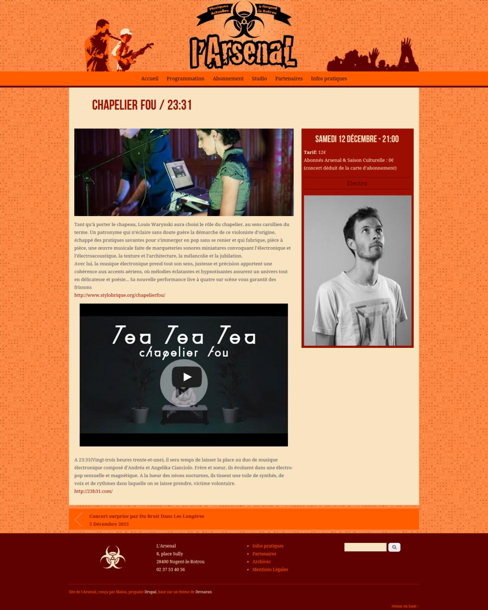 """Site Internet de la salle de concert """"l'Arsenal"""" - Concert"""