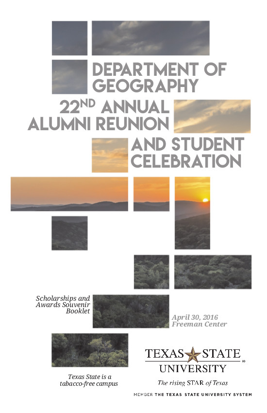 2016 Txstate Geography Alumni Reunion Brochure - Cover