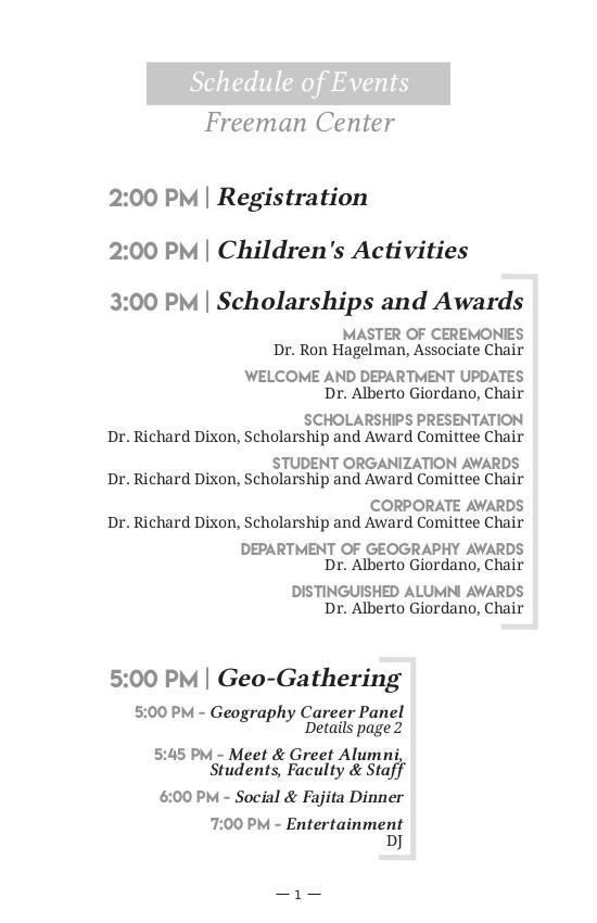 2016 Txstate Geography Alumni Reunion Brochure - Programme