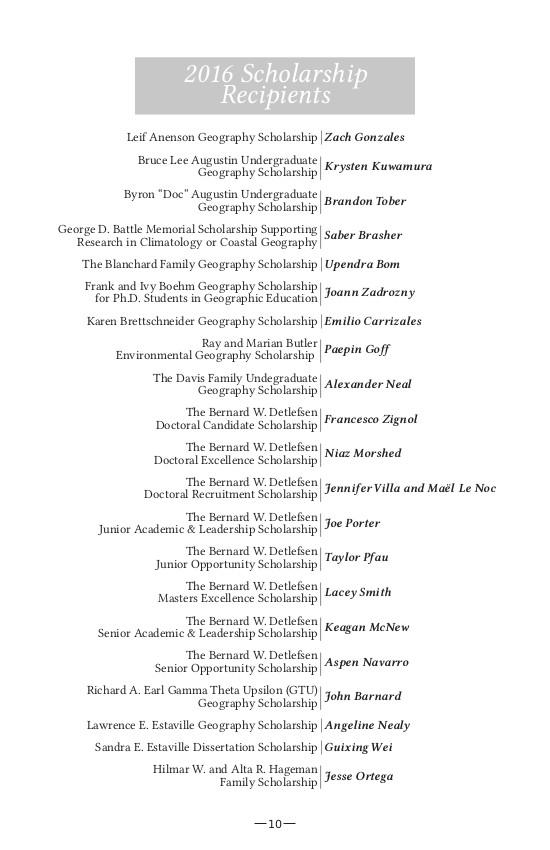 2016 Txstate Geography Alumni Reunion Brochure - Scholarship list
