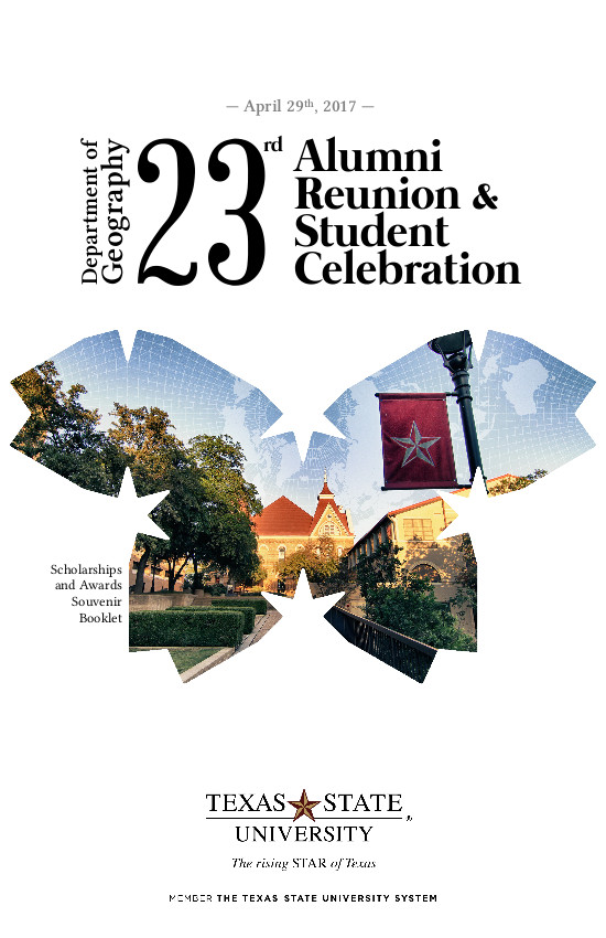 Brochure for the 2017 Texas State Geography alumni reunion