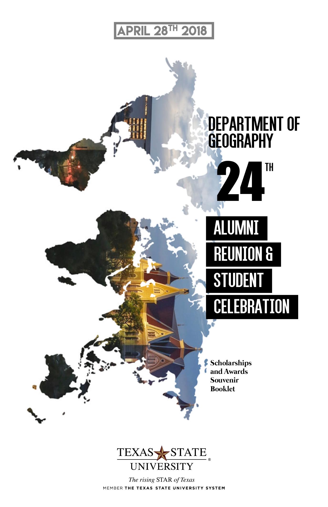 Programme des célébrations annuelles du département de géographie de Texas State University – Couverture
