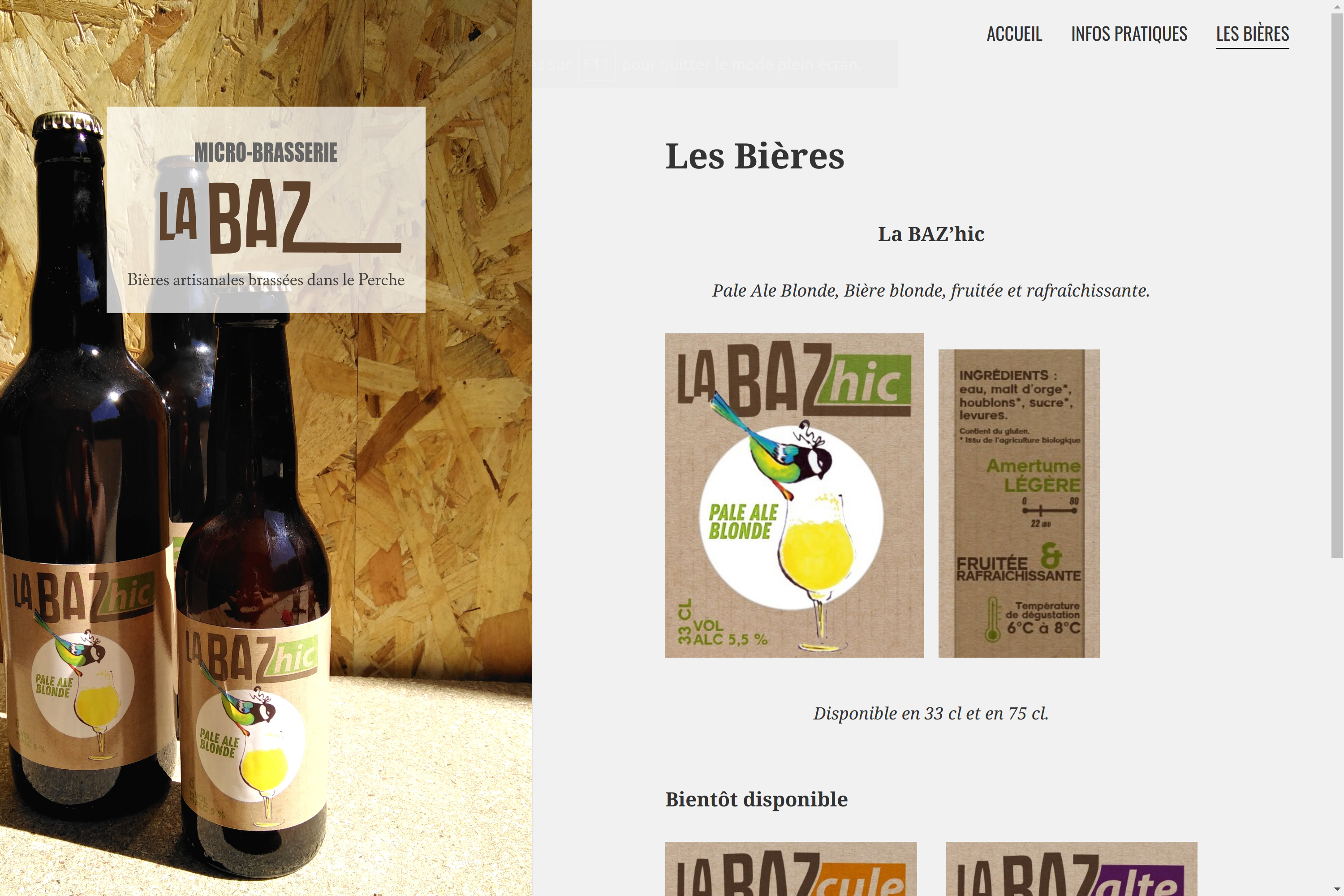 "Website of the microbrewery ""La Baz"""